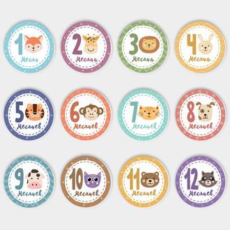 Карточки для фото 12 месяцев Круглые