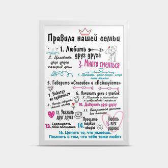 Постер Правила нашей семьи 30*40 см