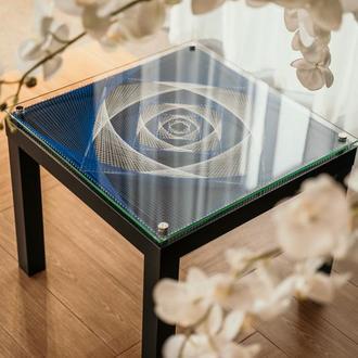 Кофейный журнальный столик стринг арт
