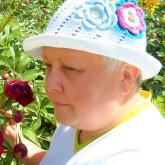 Шляпа вязаная женская пляжная хлопок крючком головной убор летний ажурная белая