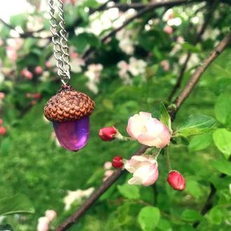 Кулочник жолудь з натуральною дубовою шляпкою та епоксидною смолою 💜