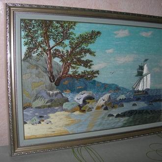 "Картина вишита об""ємною гладдю нитками DMC"
