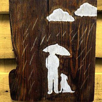 """Картина в стиле лофт """"Rainy Mood. Man&Dog"""""""