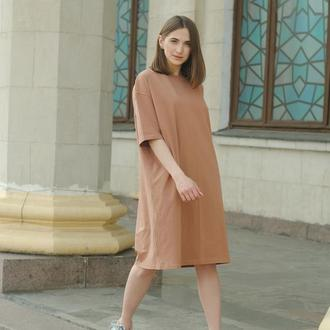 Платье-футболка оверсайз карамельная