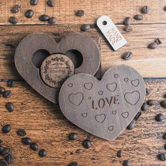 Коробка сердце, с бесплатной гравировкой. Коробочка для подарка или флешки