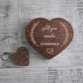 Коробочка в форме сердечка - упаковка для подарка, или деревянной флешки с гравировкой