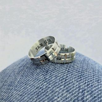 Обручальные кольца из серебра с гравировкой комплект колец серебряных