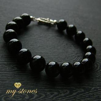"""Мужской браслет из черного оникса и серебра 925 пробы """"Black gloss"""""""
