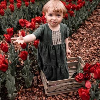 Льняное детское платье, плаття на рочок, сукня з льону, смарагдове  детское платье. 100% льон
