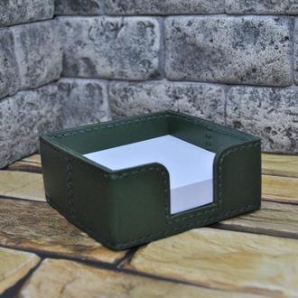 Кожаный лоток для бумаги на письменный стол L01-green