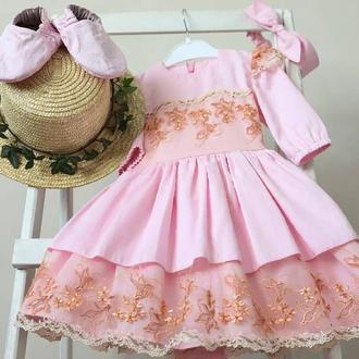 Льняное бохо платье/ Платья для девочки, кружевной хлопок детское платье, оригінальна сукня