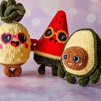 Подарочный набор мягких игрушек в виде фруктов, Плюшевые игрушки, Ананас, Авокадо, Арбуз