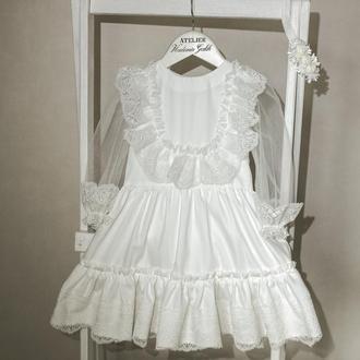 детское нарядное белое платье для крещения, детское кружевное платье для праздника.
