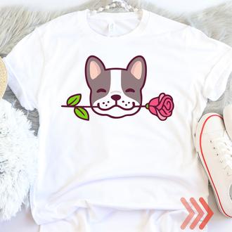 Женская, детская футболка белая Французский бульдог