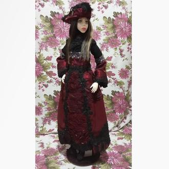 Авторская шарнирная кукла «Милана». BJD, флюмо, сатин. 78 см