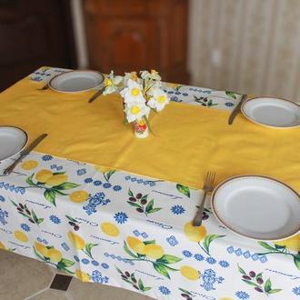 Скатерть с лимонами и ранер на стол