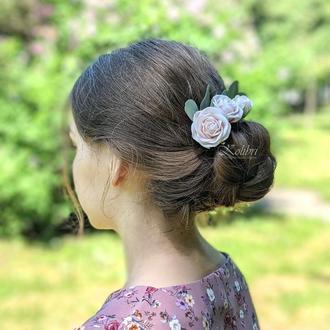 Шпильки для волосся з трояндами та евкаліптом