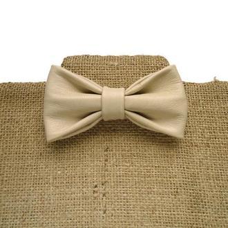 Кожаный галстук-бабочка ,Бежевый галстук-бабочка.Свадебный галстук-бабочка