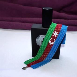 """Браслет из бисера """"Флаг Азербайджана"""""""