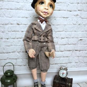 Текстильная шарнирная кукла мальчик