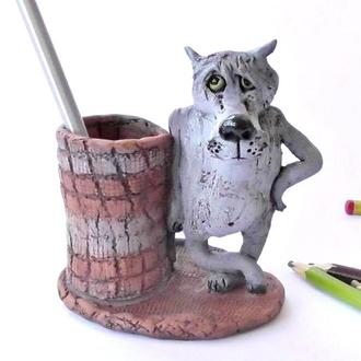 Карандашница Волк Подставка под карандаши