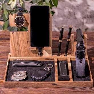 Персонализированная Подставка На Стол Для Пистолета Смартфона Часов Очков Ручек В Подарок Мужчине