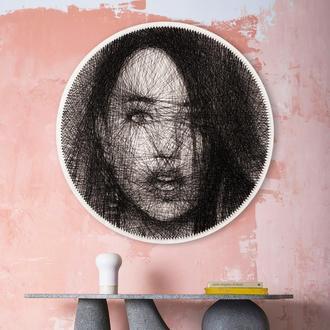 Картина нитью по номерам с вашего фото. Портрет нитью. Стринг Арт