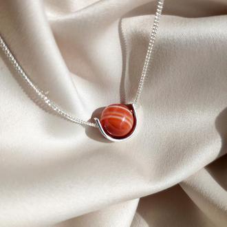 Срібне кольє Сільвія з червоним сардоніксом, Мінімалістична підвіска з натуральним каменем