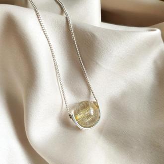 Срібне кольє з натуральним жовтим рутиловим кварцом, Довжина на вибір, Мінімалістична підвіска