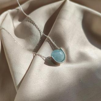 Срібне колье з блакитним натуральним аквамарином, Мінімалістична підвіска з натуральним каменем