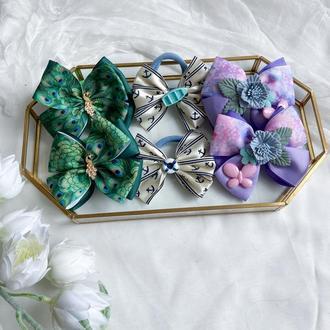 Набір бантики- резинки в садік ,бантики в школу квіти,павлін