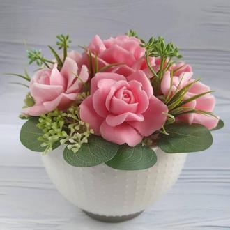 Букет із мильних троянд