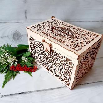 """Сундук """"Семейное счастье """" для сбора даров на свадьбе 37х25х25 см ( очень большой )"""