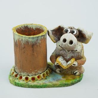 Карандашница с свинкой подарок сувенир