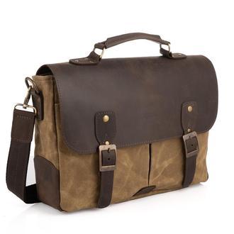 Мужская сумка-портфель водостойкий канвас и кожа RSw-3960-3md TARWA