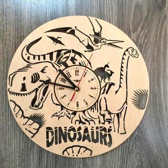 Красивые часы из дерева  «Эпоха динозавров»