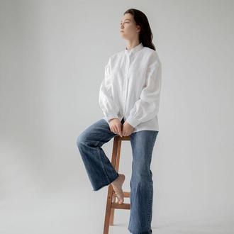 Рубашка с воротником - стойкой и объемными рукавами-фонариками