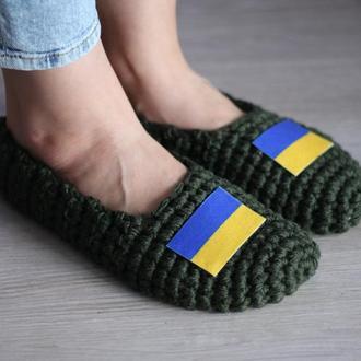 """Вязаные тапочки для дома Madana Studio """"Флаг Украины"""""""