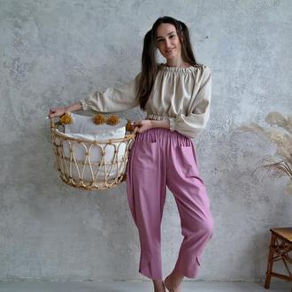 Пишні брюки з льону в стилі Бохо