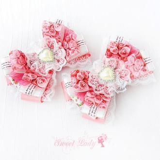 Заколки для волос Розовый сад, бантики с кружевом