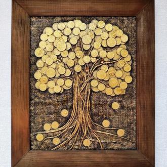 Монетное денежное дерево (24х30) золотое панно