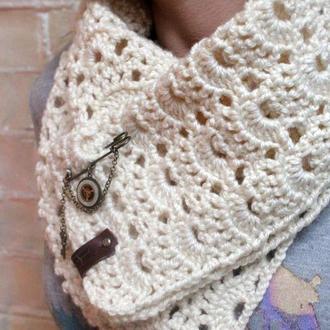 Ажурный вязаный шарф