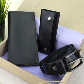 Подарунковий набір чоловічий HandyCover №52: Гаманець + ключниця + ремінь (чорний)