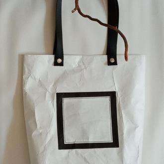 Эко-сумка белая DuPont Tyvek(синтетическая бумага) прочная, водонепроницаемая