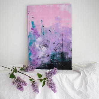 """Фіолетова картина """"Загублена в лавандових полях"""" 1/5"""
