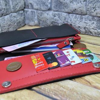 Красивый кожаный кошелек K41-black+red капри