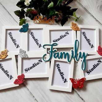 Фоторамка Family совушки квіти і сердечка 73х50 см