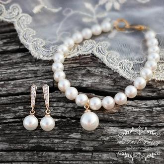 Комплект у позолоті з натуральних перлів та майоліки