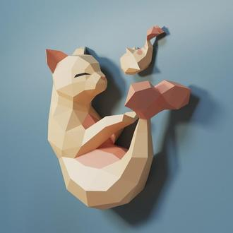 Наборы для создания 3д фигур Оригами Паперкрафт Бумажная модель Papercraft Кот-рыбка