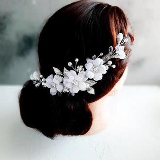 Веточка в прическу невесты с белыми цветами